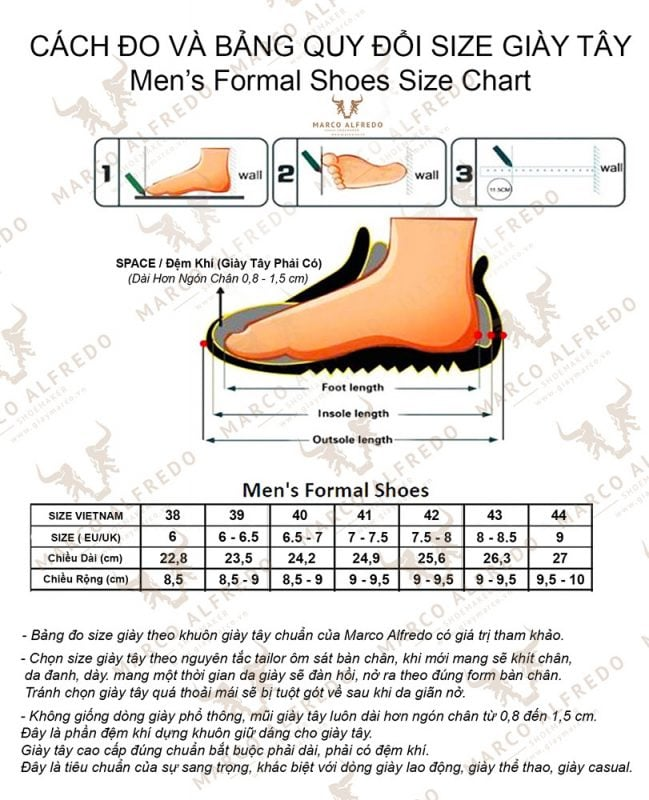 Bảng Đo Size Giày Tây
